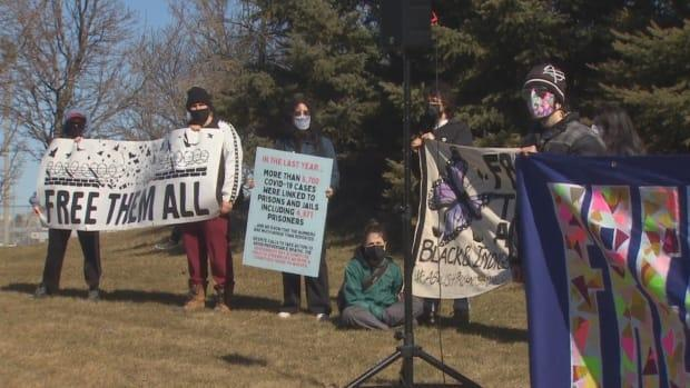 On Saturday, protesters gathered outside Maplehurst Correctional Complex in Milton, Ont., a facility that's been particularly hard-hit by COVID-19, to call for better protection for inmates.  (Rob Krbavac/CBC - image credit)