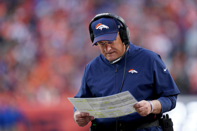 Denver Broncos head coach Vic Fangio looks over his play chart during the second half of an NFL football game against the Detroit Lions, Sunday, Dec. 22, 2019, in Denver. (AP Photo/Jack Dempsey)