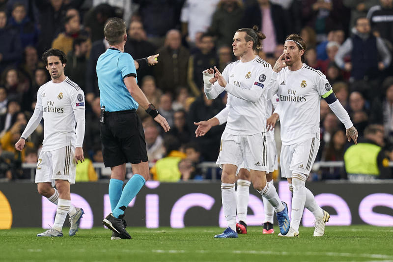 MADRID, SPAIN - FEBRUARY 26: Sergio Ramos of Real Madrid reacts after getting scored during the UEFA Champions League round of 16 first leg match between Real Madrid and Manchester City at Bernabeu on February 26, 2020 in Madrid, Spain. (Photo by Quality Sport Images/Getty Images)