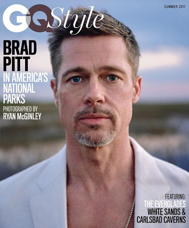 <p>Brad Pitt loves national parks so much, he wanted to do a photo shoot at three of them to accompany his <i>GQ</i> cover. The actor shot at Everglades National Park, White Sands National Monument, and Carlsbad Caverns National Park ahead of park season. Yes, that's a thing celebs can do. (Photo: GQ) </p>
