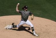 San Diego Padres starting pitcher Chris Paddack works against a Houston Astros batter during the sixth inning of a baseball game Sunday, Sept. 5, 2021, in San Diego. (AP Photo/Gregory Bull)
