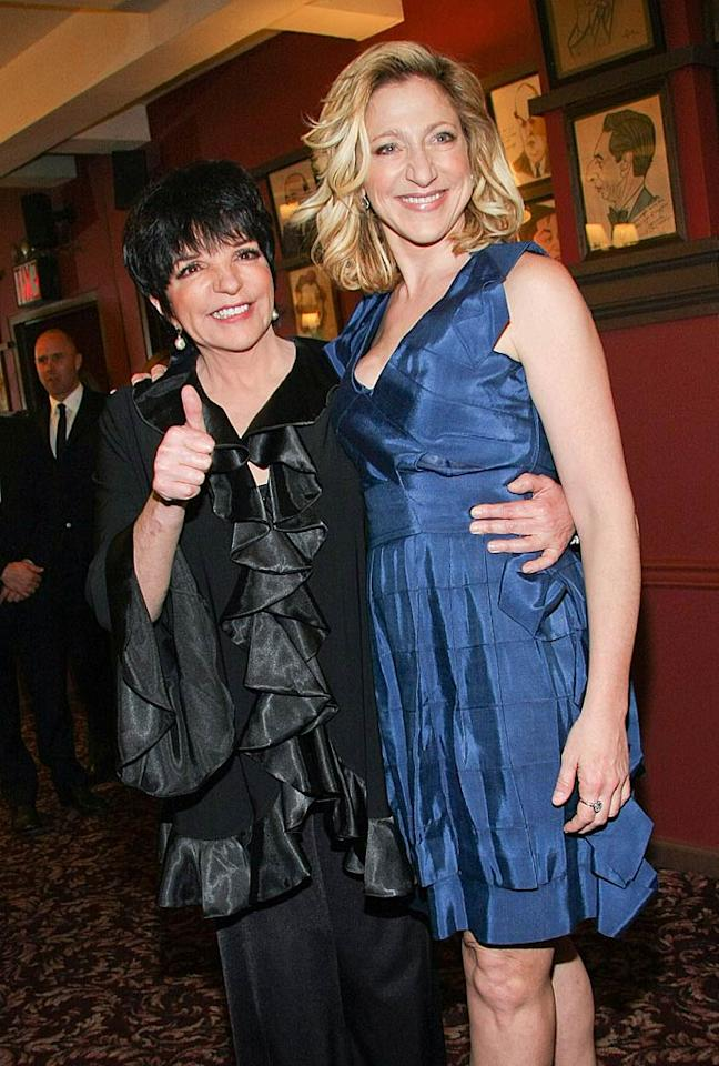 "Co-star Edie Falco shared a laugh with another woman who knows a thing or two about performing live: Liza Minnelli. Janette Pellegrini/a href=""http://www.wireimage.com"" target=""new"">WireImage.com - April 25, 2011"
