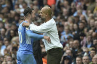 Manchester City's Jack Grealish walks off after being substituted during the English Premier League soccer match between Manchester City and Norwich City at Etihad stadium in Manchester, England, Saturday, Aug. 21, 2021. (AP Photo/Rui Vieira)