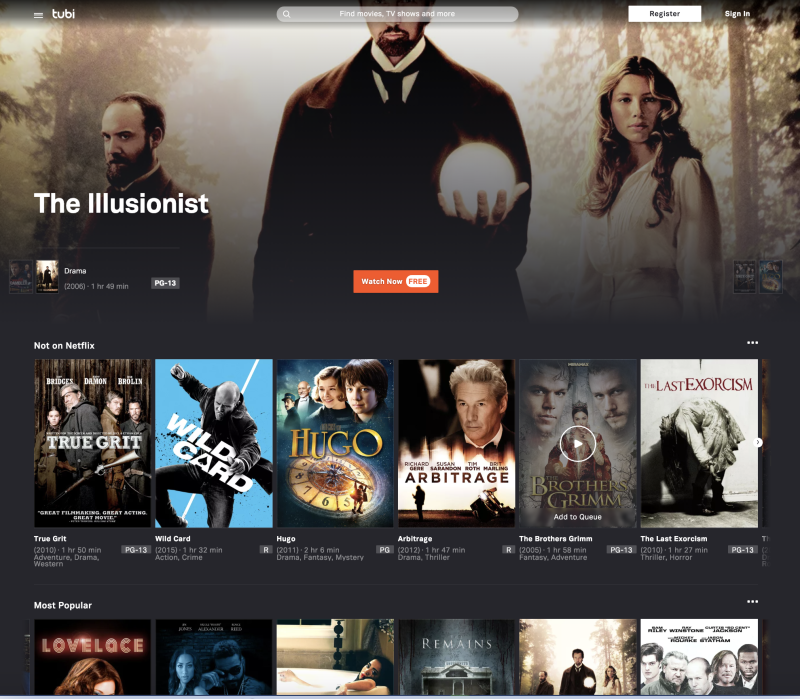 tubi tv homepage