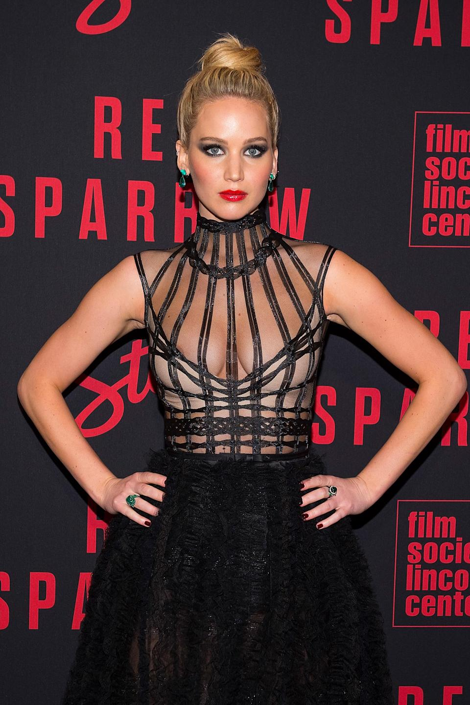 Jennifer Lawrence in New York to promote <em>Red Sparrow</em>. (Photo: Getty Images)