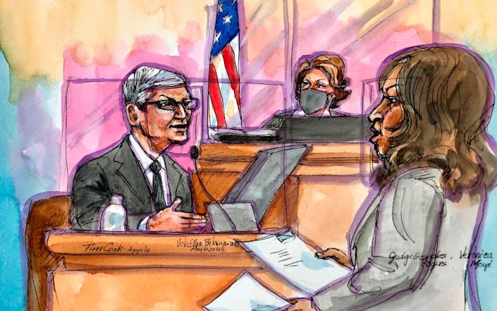 An artist rendering of Cook on the witness stand - Vicki Behringer/AP