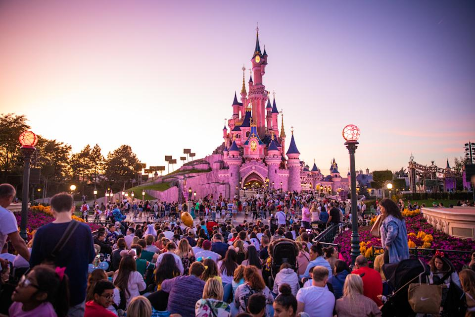 A view of the Sleeping Beauty Castle during the sunset at Disneyland Paris, in Paris, France, on September 14, 2019. Disneyland Paris is one of Europe's most popular attractions. In 2017 Disneyland  Paris  has received 320 million visits since its opening  in 1992, 56% of which came from outside France (mostly Europe). (Photo by Salvatore Romano/NurPhoto via Getty Images)