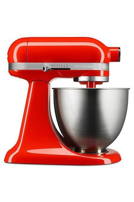 """<p><strong>KitchenAid</strong></p><p>walmart.com</p><p><strong>$199.99</strong></p><p><a href=""""https://go.redirectingat.com?id=74968X1596630&url=https%3A%2F%2Fwww.walmart.com%2Fip%2F154835350&sref=https%3A%2F%2Fwww.goodhousekeeping.com%2Fappliances%2Fmixer-reviews%2Fg2224%2Fstand-mixer-reviews%2F"""" rel=""""nofollow noopener"""" target=""""_blank"""" data-ylk=""""slk:Shop Now"""" class=""""link rapid-noclick-resp"""">Shop Now</a></p><p>If you're looking for a smaller stand mixer, this KitchenAid is the model for you. It's <strong>25% lighter and takes up 20% less counter space </strong>than the classic but doesn't compromise on performance: From whipping egg whites into stiff peaks to plowing through heavy oatmeal raisin cookie dough, it aced our Lab's mixing tests. The Mini features a three-and-a-half-quart bowl with a beater, whisk and dough hook attachment (and can still accommodate all those fun accessories). </p>"""