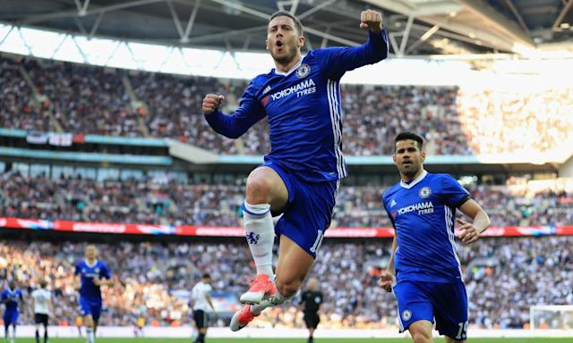 """<span class=""""element-image__caption"""">Eden Hazard, who came off the bench at Wembley, celebrates putting Chelsea 3-2 up against Tottenham during their FA Cup semi-final.</span> <span class=""""element-image__credit"""">Photograph: Richard Heathcote/Getty Images</span>"""