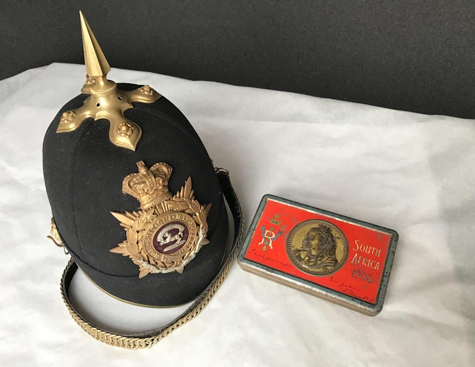 The helmet and the chocolate belonged to the 8th Baronet Sir Henry Edward Paston-Bedingfeld (National Trust/ Victoria McKeown/ PA)