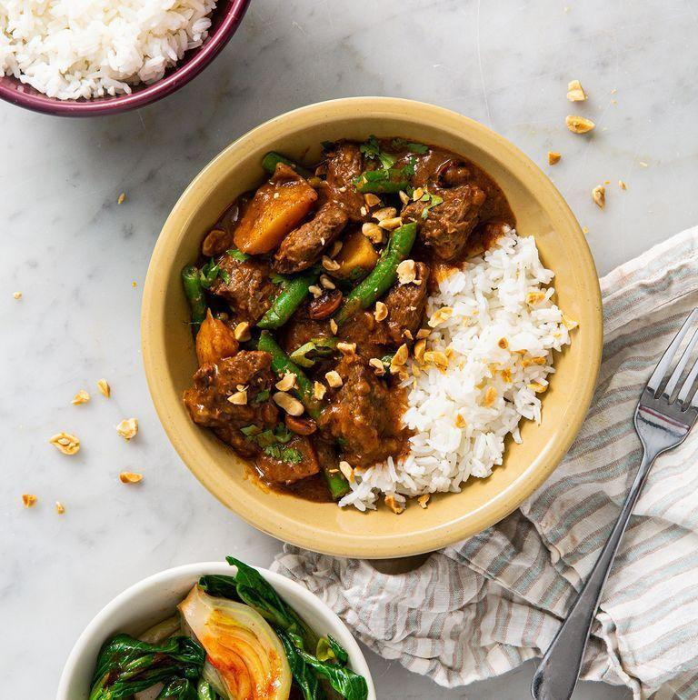 """<p>Beef Massaman <a href=""""https://www.delish.com/uk/curry-recipes/"""" rel=""""nofollow noopener"""" target=""""_blank"""" data-ylk=""""slk:Curry"""" class=""""link rapid-noclick-resp"""">Curry</a> is the dish of dreams, and one of our favourite <a href=""""https://www.delish.com/uk/cooking/recipes/g30761979/thai-food/"""" rel=""""nofollow noopener"""" target=""""_blank"""" data-ylk=""""slk:Thai"""" class=""""link rapid-noclick-resp"""">Thai</a> recipes. The sauce is rich in flavour and the <a href=""""http://www.delish.com/uk/beef-recipes/"""" rel=""""nofollow noopener"""" target=""""_blank"""" data-ylk=""""slk:beef"""" class=""""link rapid-noclick-resp"""">beef</a> falls apart beautifully. </p><p>Get the <a href=""""https://www.delish.com/uk/cooking/recipes/a30621972/beef-massaman-curry/"""" rel=""""nofollow noopener"""" target=""""_blank"""" data-ylk=""""slk:Beef Massaman Curry"""" class=""""link rapid-noclick-resp"""">Beef Massaman Curry </a>recipe. </p>"""