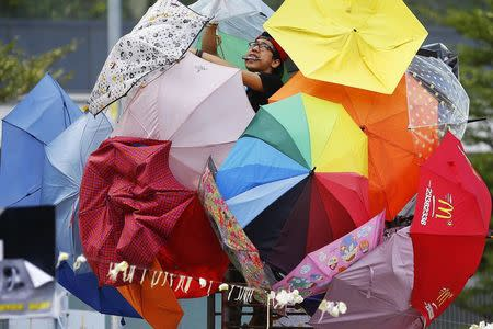 A pro-democracy protester fixes an installation made of umbrellas, symbols of the protest, in the part of Hong Kong's financial central district protesters are occupying October 31, 2014. REUTERS/Damir Sagolj