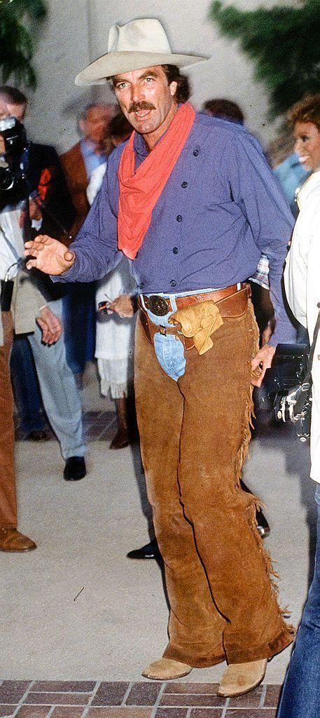 <p>It's Tom Selleck dressed as a cowboy. What else do you need to know about this circa 1990 look?</p>