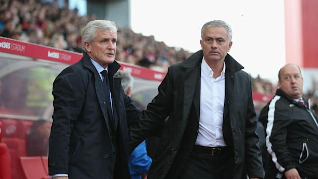 """Calling Stoke a long-ball team is """"lazy"""" according to Mark Hughes, who felt Manchester United were more direct than his side at the weekend."""