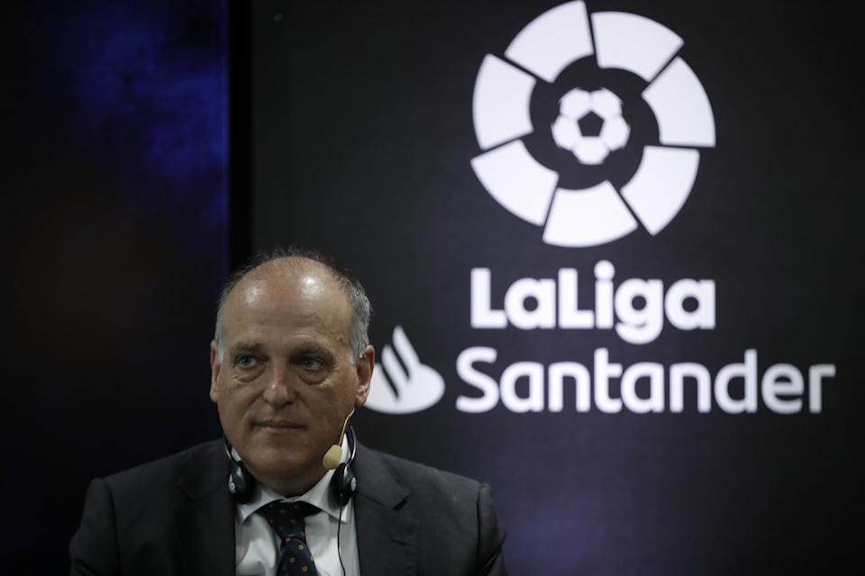 MADRID, SPAIN - FEBRUARY 28:  La Liga president Javier Tebas speaks during a media event for the foreign press members ahead of the 180th La Liga El Clasico (Real Madrid vs Barcelona) in Madrid, Spain on February 28, 2020. (Photo by Burak Akbulut/Anadolu Agency via Getty Images)