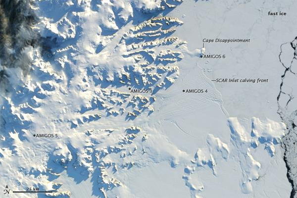 A passing satellite captured this image of the Antarctic Peninsula in late April 2012.