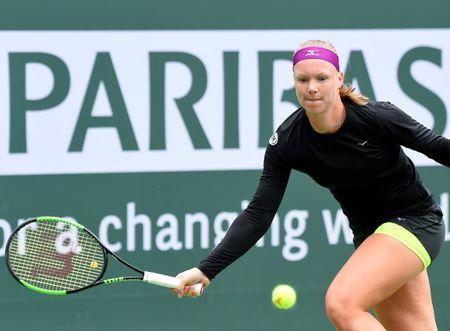 Mar 10, 2018; Indian Wells, CA, USA; Kiki Bertens (NED) during her second round match against Serena Williams (not pictured) in the BNP Paribas Open at the Indian Wells Tennis Garden. Mandatory Credit: Jayne Kamin-Oncea-USA TODAY Sports