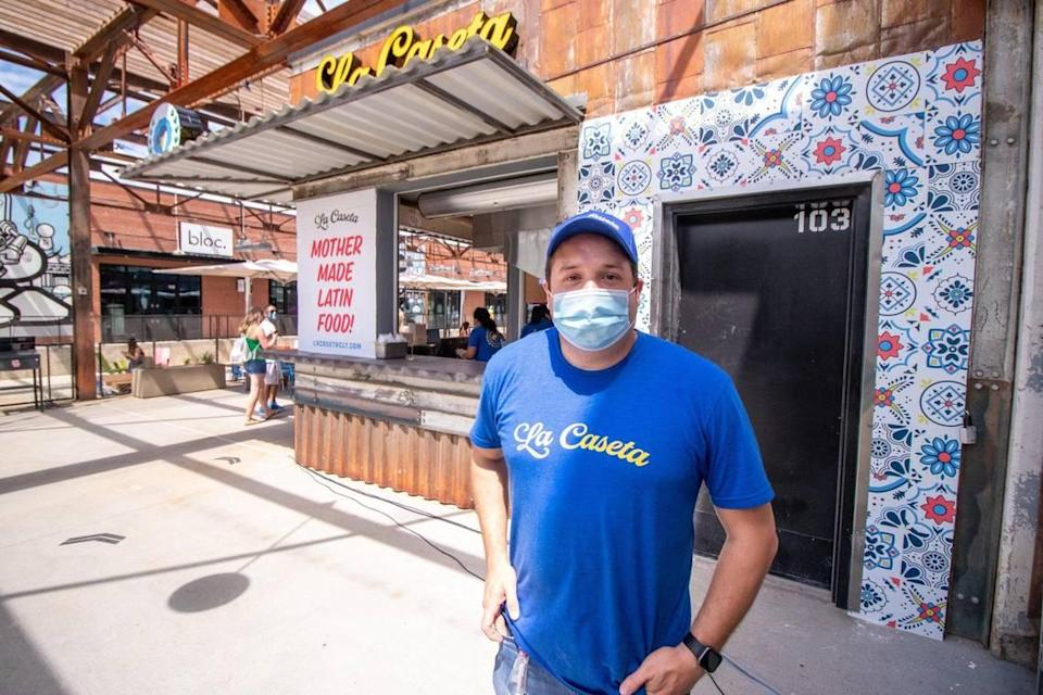 In June 2020, Dalton Espaillat opened La Caseta at Camp North End's new food stalls on Keswick Avenue. It is inspired by his wife's mother's cooking.