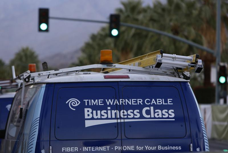 A Time Warner Cable installation van is shown in Palm Springs, California