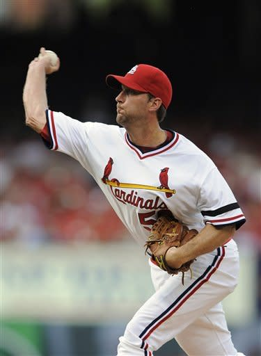 St. Louis Cardinals starting pitcher Adam Wainwright throws during the third inning of a baseball game against the Milwaukee Brewers Saturday, Aug. 4, 2012, in St. Louis. (AP Photo/Jeff Curry)