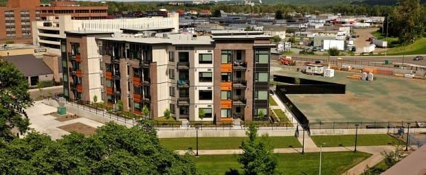 The Park House condos were built by a private developer as part of a deal with the city of Prince George to build an underground parkade. (City of Prince George - image credit)