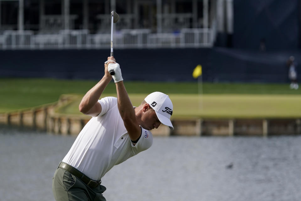 Justin Thomas hits his tee shot on the 17th hole during the third round of The Players Championship golf tournament Saturday, March 13, 2021, in Ponte Vedra Beach, Fla. (AP Photo/John Raoux)
