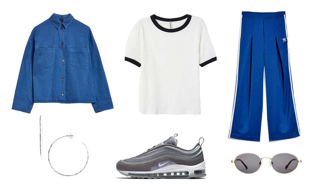 <p>You can copy Hadid's streetstyle-ready look by pairing a boxy jacket with a white ribbed tee, relaxed wide-leg track pants, and Nike's Air Max 97 sneakers. Accessorize like the supermodel with on-trend oval sunglasses and oversized hoop earrings. </p>