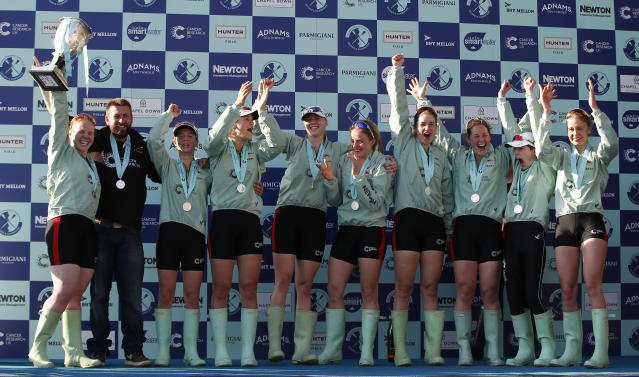 Britain Rowing - 2017 Oxford v Cambridge University Boat Race - River Thames, London - 2/4/17 Cambridge celebrate winning the womens boat race with the trophy Action Images via Reuters / Paul Childs Livepic