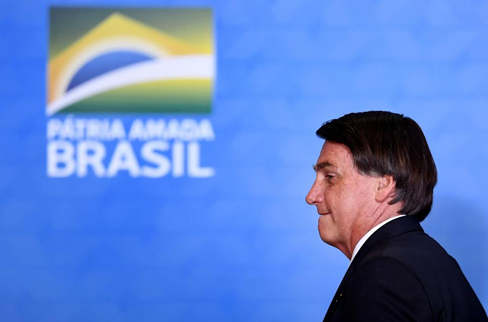 Brazilian President Jair Bolsonaro gestures during the ceremony celebrating 100 million digital savings accounts in the state bank Caixa Economica at Planalto Palace in Brasilia, on November 4, 2020. (Photo by EVARISTO SA / AFP) (Photo by EVARISTO SA/AFP via Getty Images)