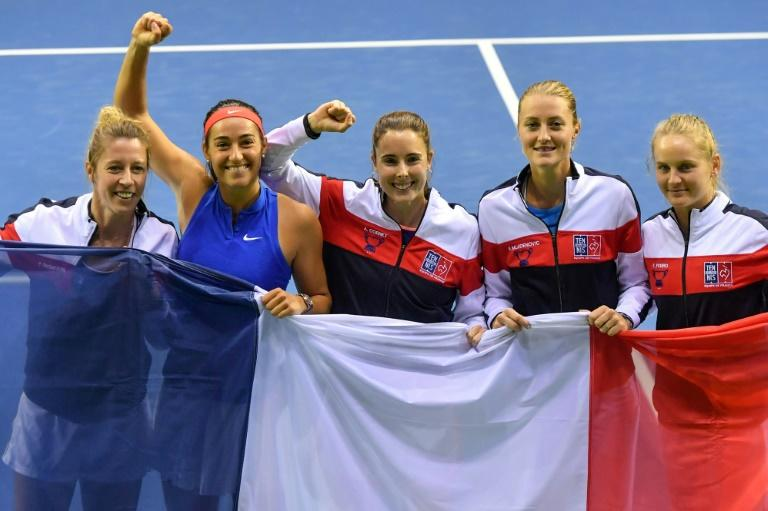 Kristina Mladenovic (second from R) was an unused squad member as France beat Belgium in February's quarter-finals