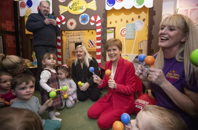 Meanwhile, SNP leader Nicola Sturgeon played with local children during a visit to the Jelly Tots & Cookies Play Cafe in Uddingston, South Lanarkshire