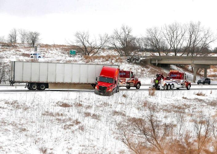 Traffic was rerouted on the eastbound lane of Interstate 80 near Adel, Iowa, after a semi truck jackknifed and took up both lanes of the freeway on Jan. 17, 2020. The accident was related to a winter storm, which dumped several inches of snow across much of central and northern Iowa.
