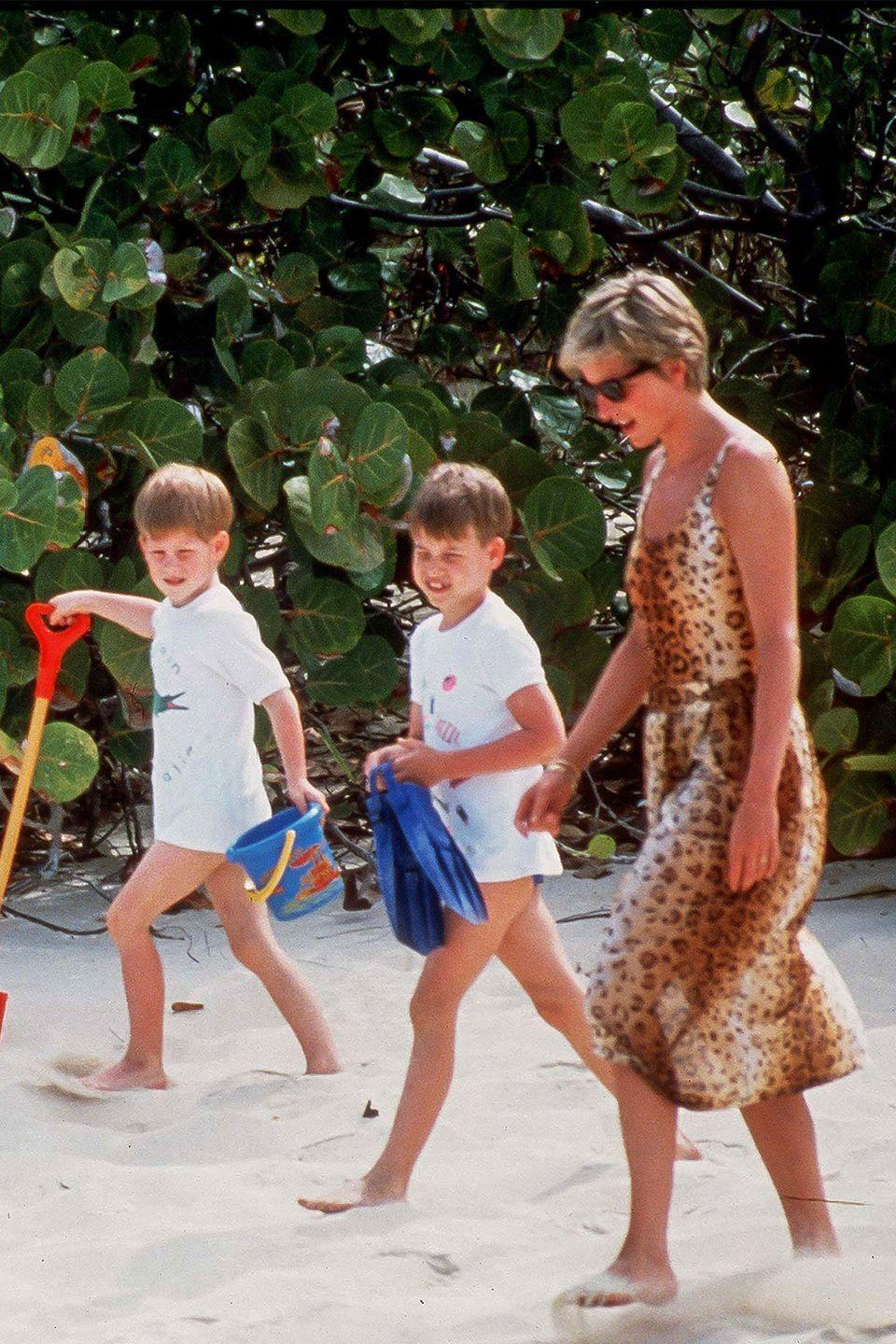 """<p>Although formal outfits were certainly a part of William and Harry's childhood wardrobe, Diana dressed her children in T-shirts, jeans, and other classically """"normal"""" garments.</p>"""