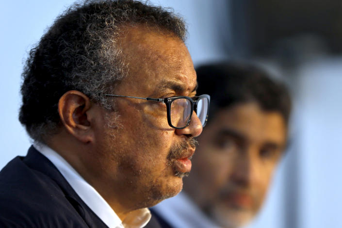 Director General of the World Health Organization, Tedros Adhanom Ghebreyesus, speaks during a press conference, in Beirut, Lebanon, Friday, Sept. 17, 2021. Ghebreyesus said on Friday he was deeply concerned about the impact of Lebanon's economic meltdown and multiple crises on the people's wellbeing, saying the migration of healthcare workers is particularly worrisome. (AP Photo/Bilal Hussein)