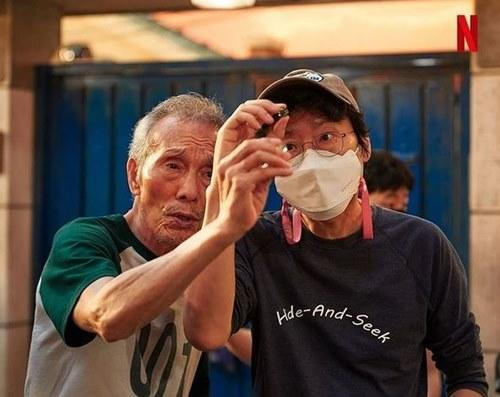 When the cameras aren't rolling; the veteran actor with 'Squid Game' director Hwang Dong-Hyuk