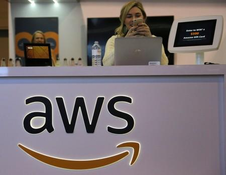 The logo for Amazon Web Services (AWS) is seen at the SIBOS banking and financial conference in Toronto