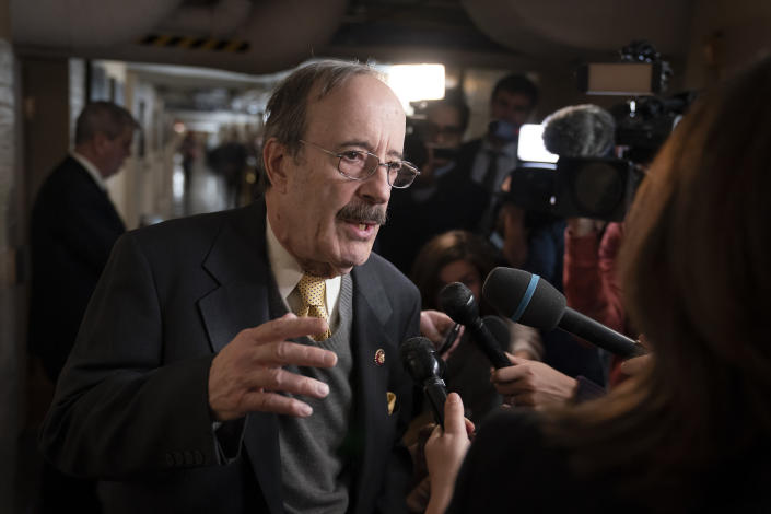 In this Dec. 17, 2019, file photo, House Foreign Affairs Committee Chairman Eliot Engel talks to reporters at the Capitol. (J. Scott Applewhite/AP)
