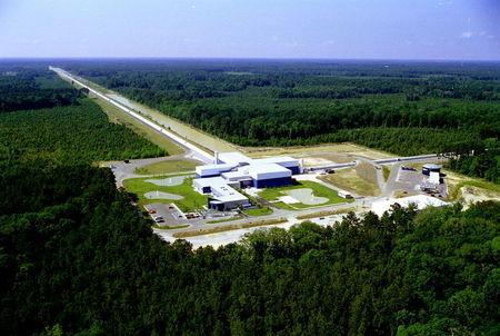 An aerial photo shows Laser Interferometer Gravitational-wave Observatory (LIGO) Livingston Laboratory detector site near Livingston, Louisiana in this undated photo released by Caltech/MIT/LIGO Laboratory on February 8, 2016. REUTERS/Caltech/MIT/LIGO Laboratory/Handout via Reuters