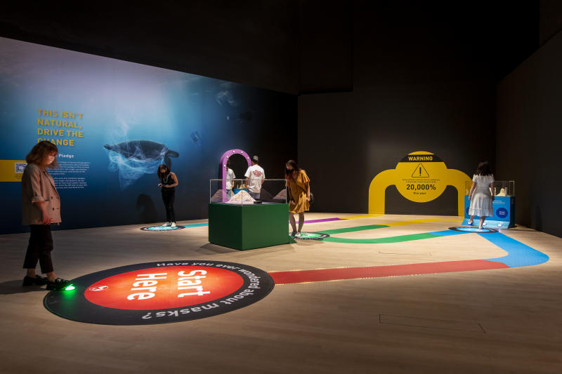 Interactive space at the ArtScience Museum's Planet Or Plastic exhibition. (Photo: Marina Bay Sands)