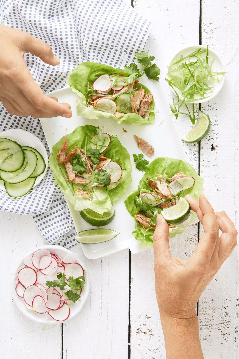 "<p>Let the guests serve themselves tonight. Bring the slow cooker to the table, so they can fill their own pieces of lettuce with savory miso pork. Who needs fancy platters or serving utensils? </p><p><em><a href=""https://www.goodhousekeeping.com/food-recipes/easy/a34182/korean-pork-lettuce-wraps/"" rel=""nofollow noopener"" target=""_blank"" data-ylk=""slk:Get the recipe for Korean Pork Lettuce Wraps »"" class=""link rapid-noclick-resp"">Get the recipe for Korean Pork Lettuce Wraps »</a></em> </p><p><strong>RELATED: </strong><a href=""https://www.goodhousekeeping.com/food-recipes/healthy/g1364/myplate-inspired-slow-cooker-dinners"" rel=""nofollow noopener"" target=""_blank"" data-ylk=""slk:25 Healthy Slow Cooker Recipes That Basically Make Themselves"" class=""link rapid-noclick-resp"">25 Healthy Slow Cooker Recipes That Basically Make Themselves</a></p>"