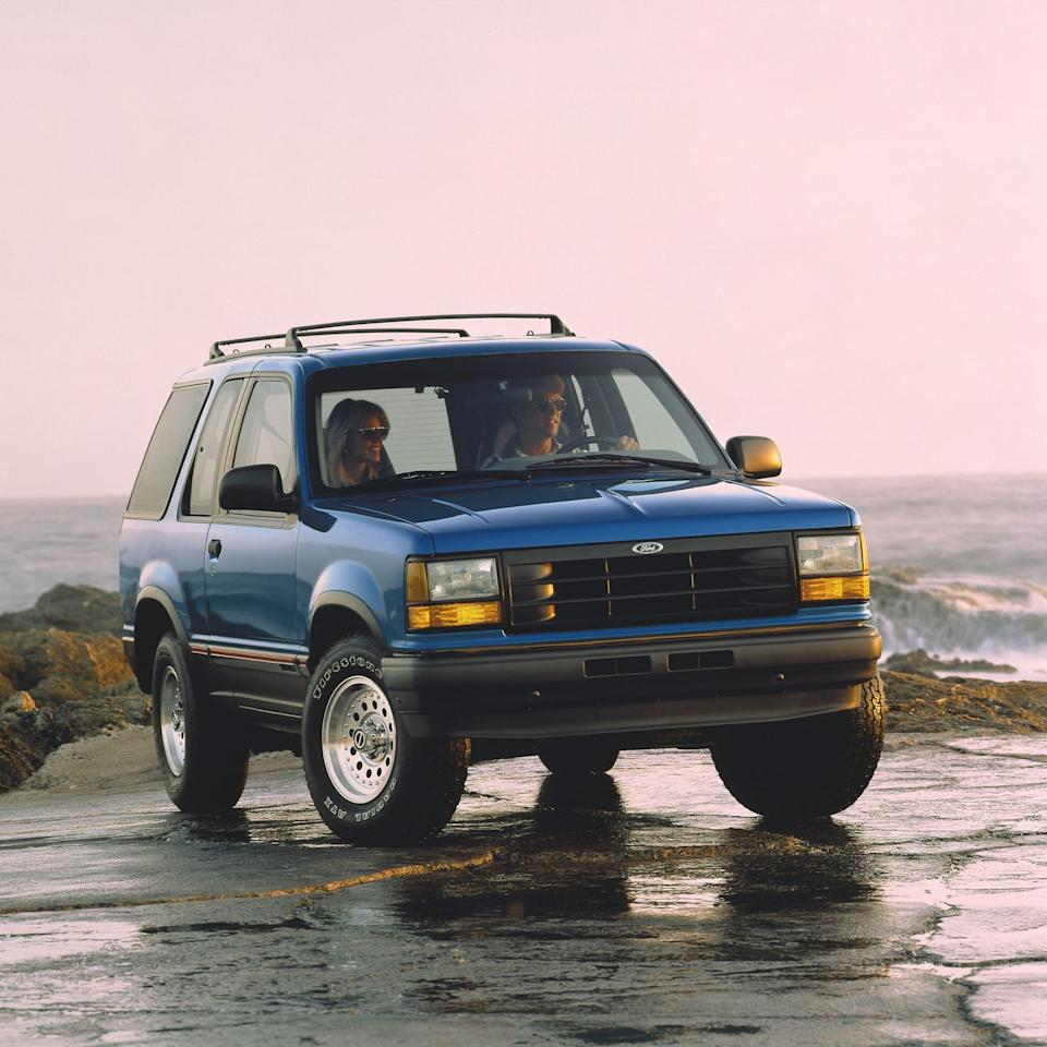 "<p>A 155-hp 4.0-liter V-6 (dubbed ""Cologne"") is the only engine offered and rear-wheel drive is standard. A pushbutton-activated four-wheel-drive system is available (low-range gearing is included, and also is activated via a button on the dashboard). Ford presses the Explorer's chops as an adventure vehicle-this when the term ""sport-utility vehicle"" is just taking off-which explains the standard five-speed manual transmission. A four-speed automatic is also offered.</p>"
