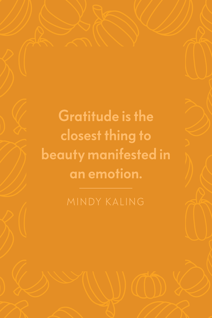 """<p>""""Gratitude is the closest thing to <a href=""""https://www.oprahdaily.com/beauty/g23454091/beauty-secrets-around-the-world/"""" rel=""""nofollow noopener"""" target=""""_blank"""" data-ylk=""""slk:beauty manifested"""" class=""""link rapid-noclick-resp"""">beauty manifested</a> in an emotion,"""" Kaling wrote in her 2015 <em>New York Times </em>bestseller <a href=""""https://www.amazon.com/Why-Not-Me-Mindy-Kaling/dp/0804138168?tag=syn-yahoo-20&ascsubtag=%5Bartid%7C10072.g.28721147%5Bsrc%7Cyahoo-us"""" rel=""""nofollow noopener"""" target=""""_blank"""" data-ylk=""""slk:Why Not Me?"""" class=""""link rapid-noclick-resp""""><em>Why Not Me?</em></a></p>"""