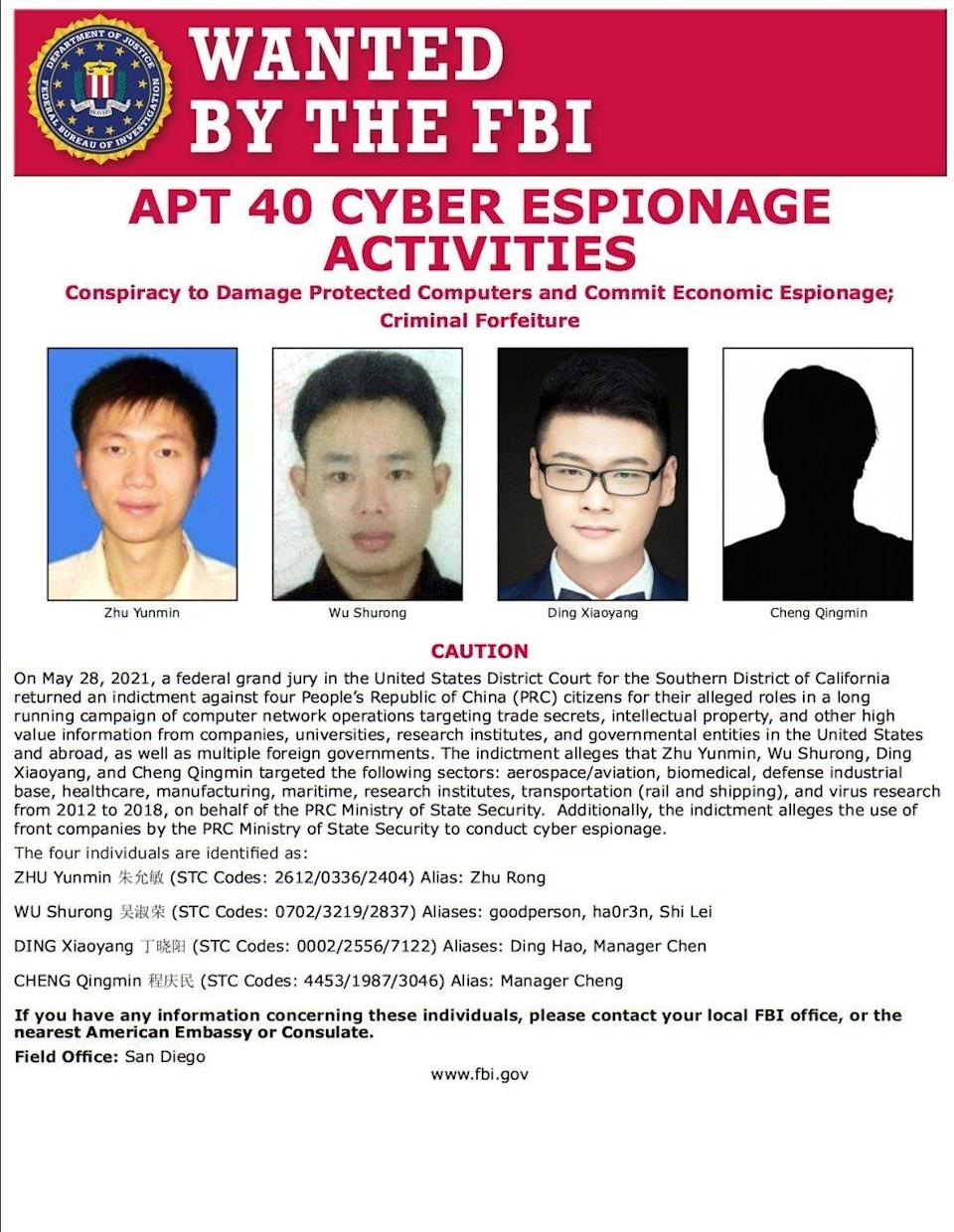The US Justice Department said it had charged four mainland Chinese with establishing a front company to carry out schemes that targeted users in 12 countries. Photo: US Federal Bureau of Investigation