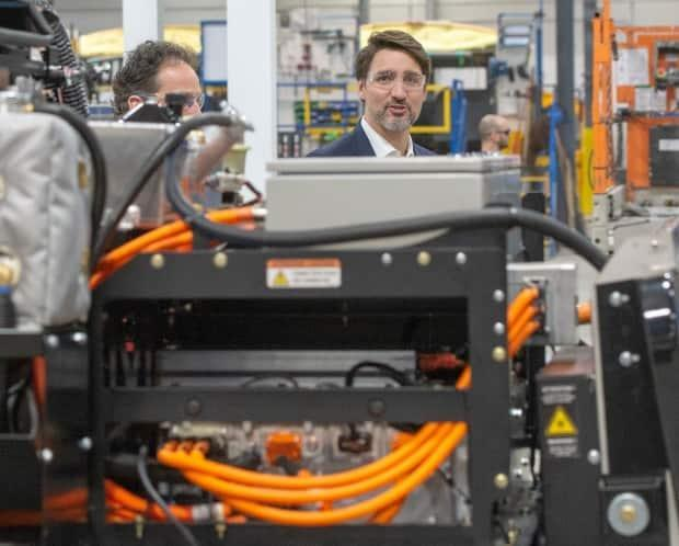 Trudeau toured Lion Electric's factory in Saint-Jérôme, Que., last March, just before the pandemic.