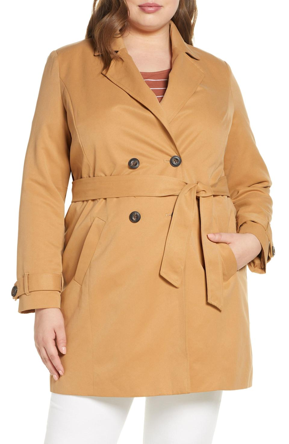 """<p><strong>VERO MODA</strong></p><p>nordstrom.com</p><p><strong>$59.25</strong></p><p><a href=""""https://go.redirectingat.com?id=74968X1596630&url=https%3A%2F%2Fwww.nordstrom.com%2Fs%2Fvero-moda-curve-tie-waist-jacket-plus-size%2F5573098&sref=https%3A%2F%2Fwww.oprahmag.com%2Fstyle%2Fg33266496%2Fplus-size-coats%2F"""" rel=""""nofollow noopener"""" target=""""_blank"""" data-ylk=""""slk:SHOP NOW"""" class=""""link rapid-noclick-resp"""">SHOP NOW</a></p><p>This double-breasted trench coat ticks all the boxes: It's easy, elegant, and goes with practically everything. Plus, you can wear it with the belt to emphasize your curves or you can remove the belt for a more relaxed feel (bonus: you don't have to worry about wrinkles).</p>"""