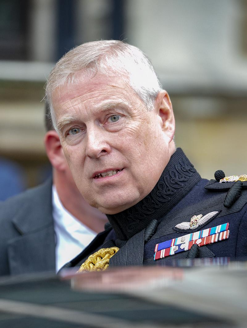 07-09-2019 Brugge Prince Andrew, Duke of York, at the parade on the market and flowers at the Charles II monument during the commemorative celebration of 75 years of liberation of Brugge, Belgium. ( PPE/Nieboer/Sipa USA)