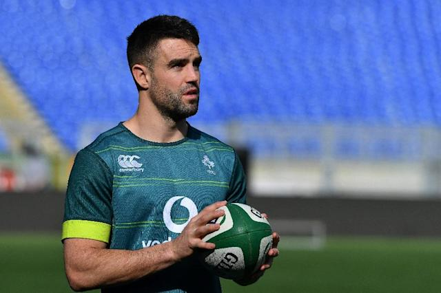 Ireland's Conor Murray has not played since suffering a nerve injury affecting his shoulder and neck area in a game on March 10 (AFP Photo/Alberto PIZZOLI)