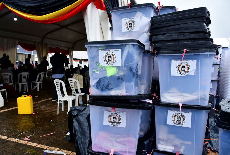 Ballot boxes and other electoral materials are seen at the Kampala tally centre, in Kampala