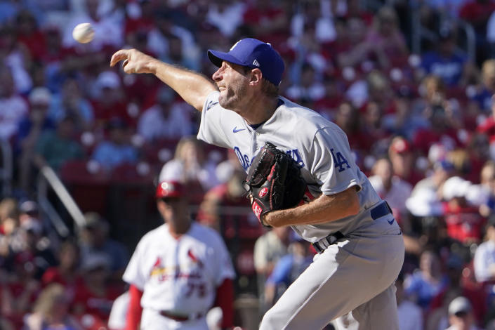 Los Angeles Dodgers starting pitcher Max Scherzer throws during the third inning of a baseball game against the St. Louis Cardinals Monday, Sept. 6, 2021, in St. Louis. (AP Photo/Jeff Roberson)