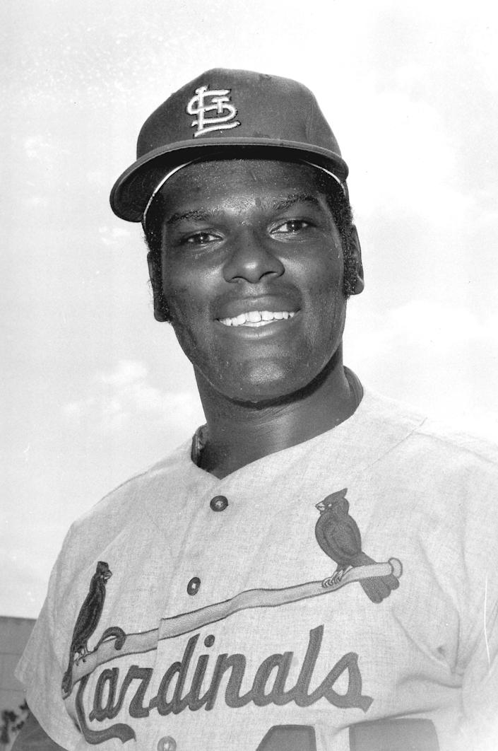 FILE - This March 1970 file photo shows St. Louis Cardinals pitcher Bob Gibson posed during spring training at St. Petersburg, Fla. Names etched on the most coveted cards. Names that crackled from transistor radios. The names that shouted from the pages of hometown newspapers and Baseball Digest issues at a moment in the game's history that seems for some like just yesterday but, propelled by the losses of the past year, is starting its inexorable fade. Gibson died Oct. 2, 2020. (AP Photo/File)